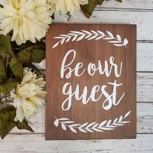 Be Our Guest Decorative Wooden Sign Stand